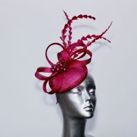 Blackcurrant feather and pearl ladies' pillbox fascinator 16436/SD308